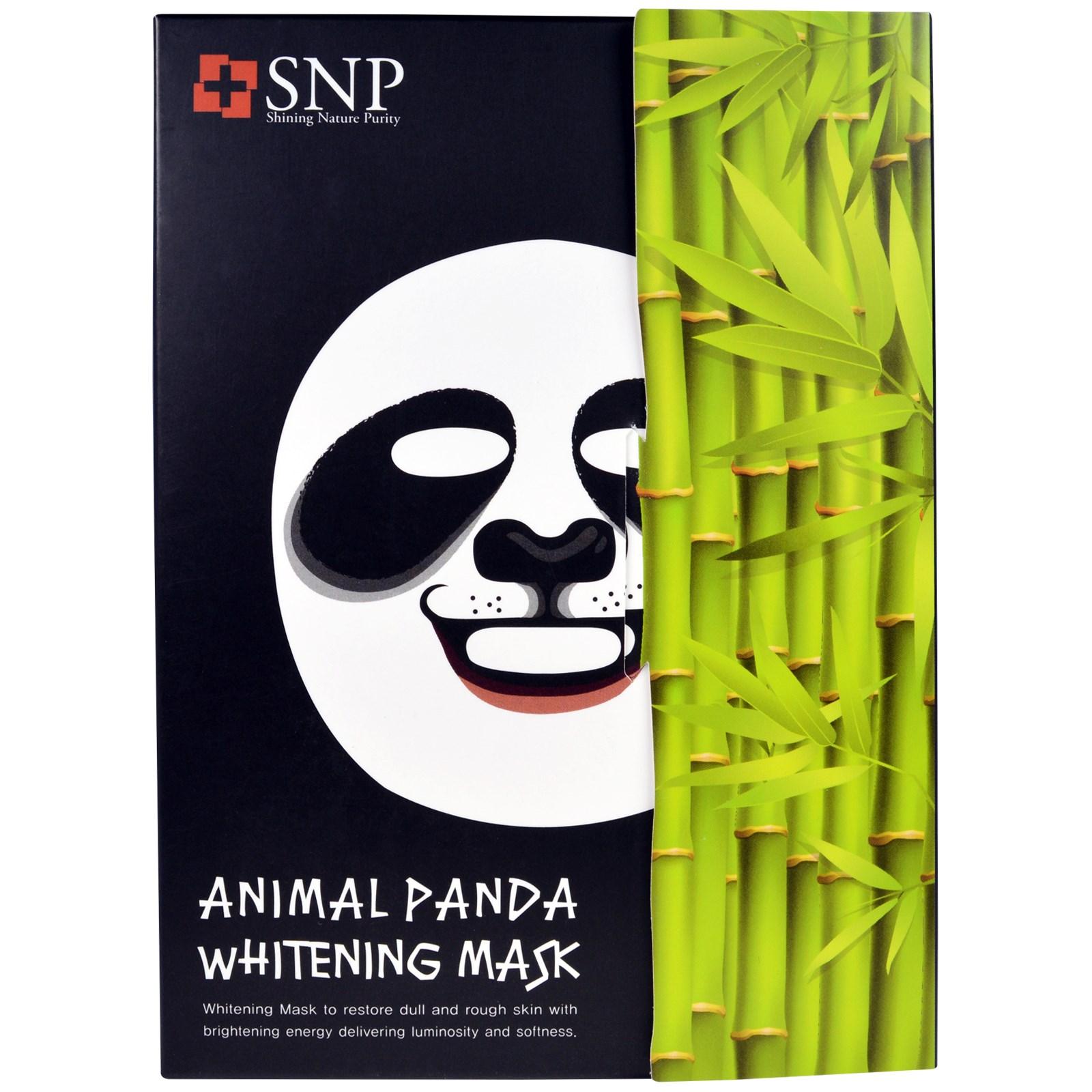 SNP, Отбеливающая маска «Животное панда», 10 масок по 25 мл каждая