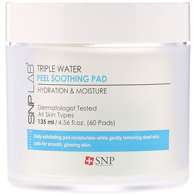 Купить SNP LAB+ Triple Water, пилинг-диски с успокаивающим эффектом, 60шт.