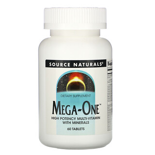 Source Naturals, Mega-One, High Potency Multi-Vitamin with Minerals, 60 Tablets