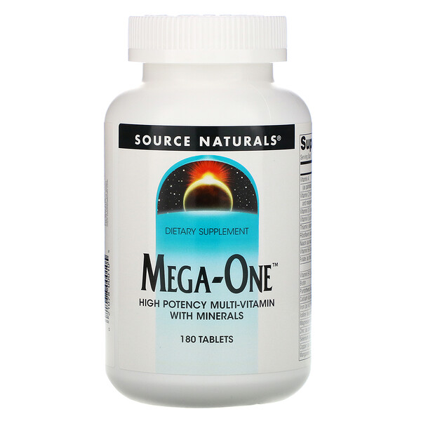 Source Naturals, Mega-One, High Potency Multi-Vitamin with Minerals, 180 Tablets