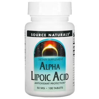 Source Naturals, Acide alpha-lipoïque, 50mg, 100 Comprimés