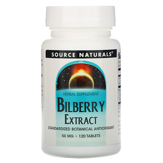 Source Naturals, Bilberry Extract, 50 mg, 120 Tablets