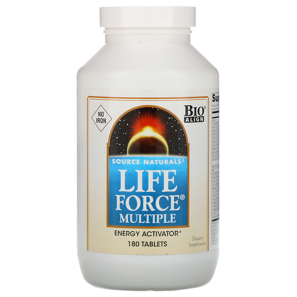 Source Naturals, Life Force Multiple, ללא ברזל, 180 כמוסות