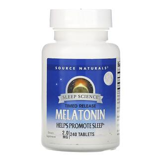 Source Naturals, Мелатонин с замедленным высвобождением, 2 мг, 240 таблеток