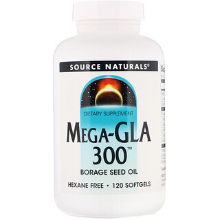 Source Naturals, Mega-GLA 300, 120 Softgels