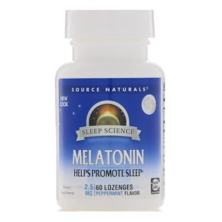 Source Naturals, Melatonin, Pfefferminzgeschmack, 2,5 mg, 60 Lutschtabletten