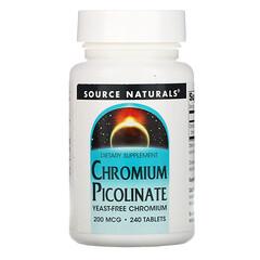 Source Naturals, 吡啶甲酸鉻,200微克,240片
