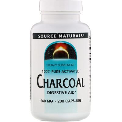 Source Naturals Древесный уголь, 260 мг, 200 капсул  - купить со скидкой