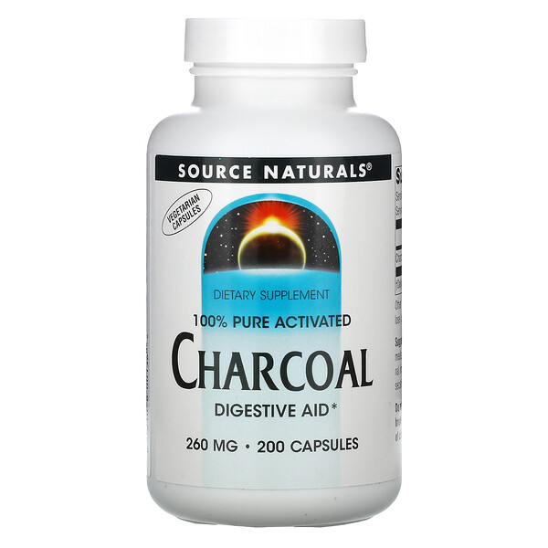 100% Pure Activated Charcoal, 260 mg, 200 Capsules