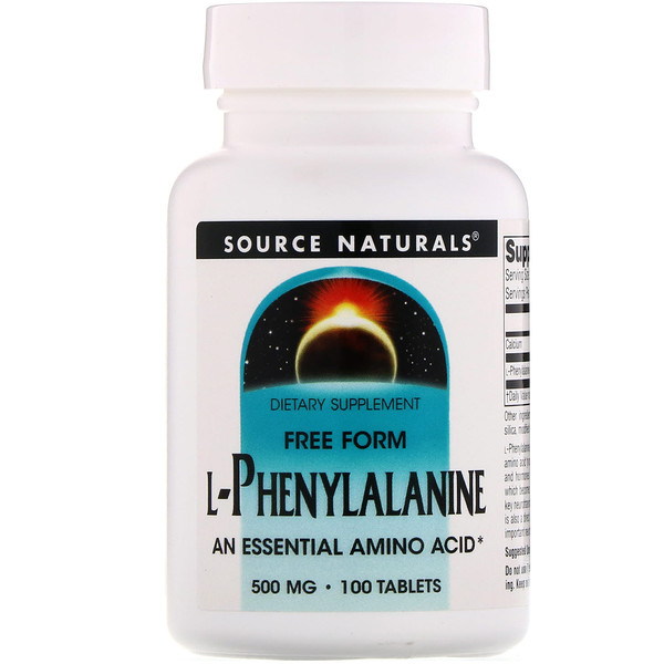Source Naturals, L-fenilalanina, 500 mg, 100 tabletas