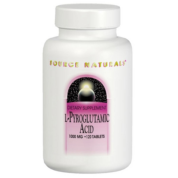 Source Naturals, L-Pyroglutamic Acid, 1000 mg, 120 Tablets (Discontinued Item)