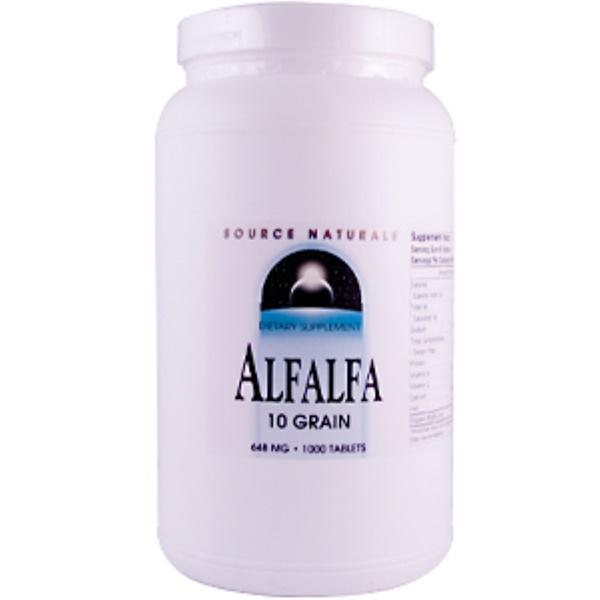 Source Naturals, Alfalfa, 10 Grain, 648 mg, 1000 Tablets (Discontinued Item)