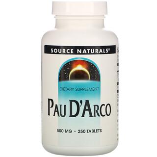 Source Naturals, Pau D'Arco, 500 mg, 250 Tablets