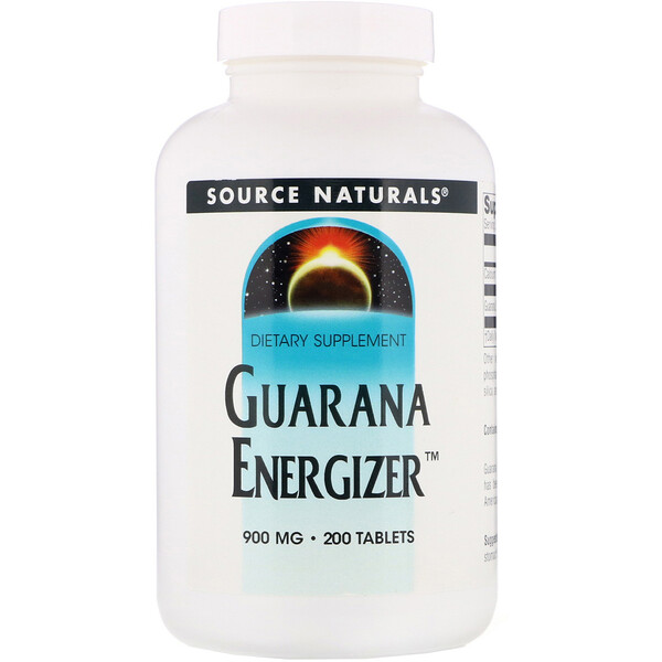 Energizante de guaraná, 900 mg, 200 tabletas