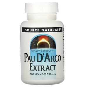 Сорс Начэралс, Pau D'Arco Extract, 500 mg, 100 Tablets отзывы покупателей