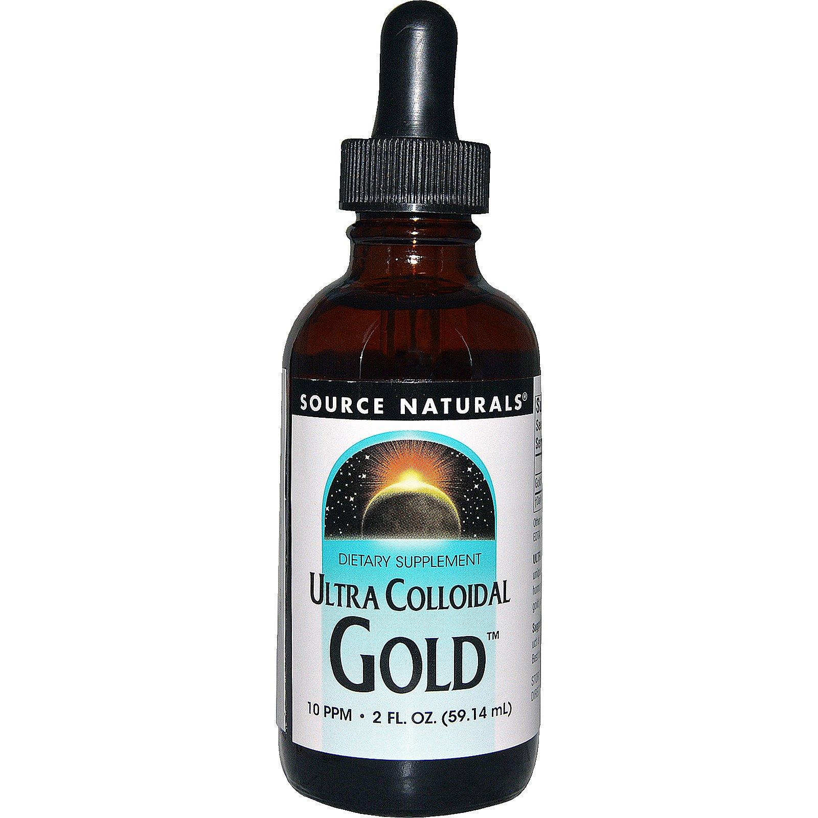 Source Naturals, Ультра коллоидное золото 10 мг/л, 2 жидких унции (59,14 мл)
