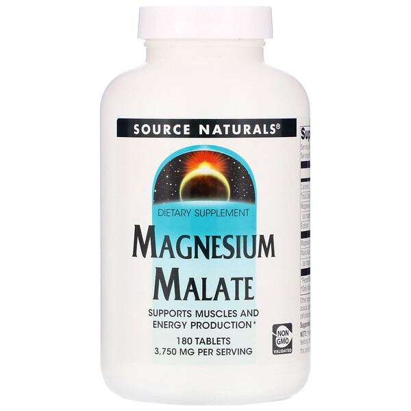Magnesium Malate, 1,250 mg, 180 Tablets