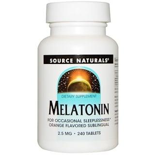 Source Naturals, Melatonin, Orange Flavored Lozenge, 2.5 mg, 240 Lozenges