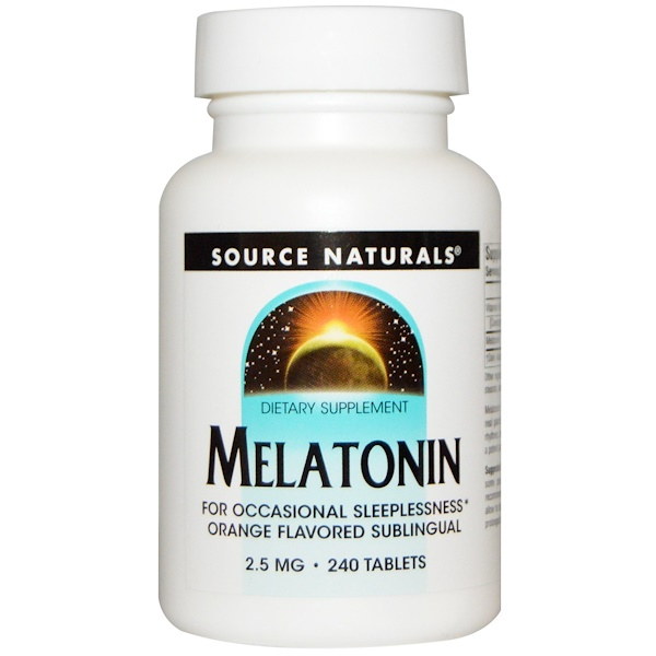 Source Naturals, Melatonin, Orange Flavored Lozenge, 2.5 mg, 240 Lozenges