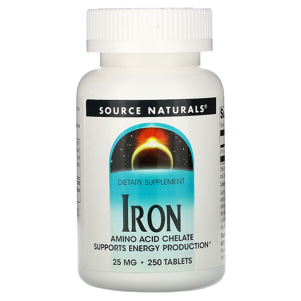 Source Naturals, Iron, 25 mg, 250 Tablets