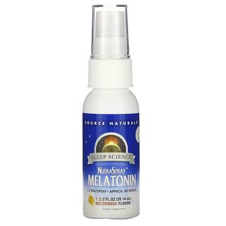 Source Naturals, Sleep Science, NutraSpray Melatonin, Orange Flavor, 1.5 mg, 2 fl oz (59.14 ml)