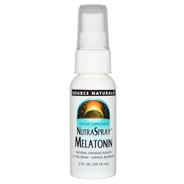 Source Naturals, NutraSpray mélatonine, arôme naturel orange, 59,14 ml.