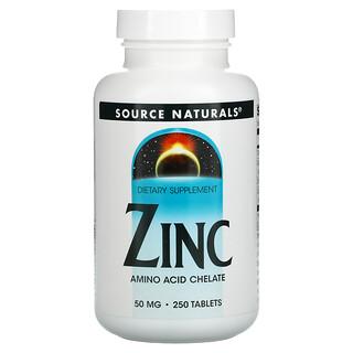 Source Naturals, Zinc, 50 mg, 250 Tabletas
