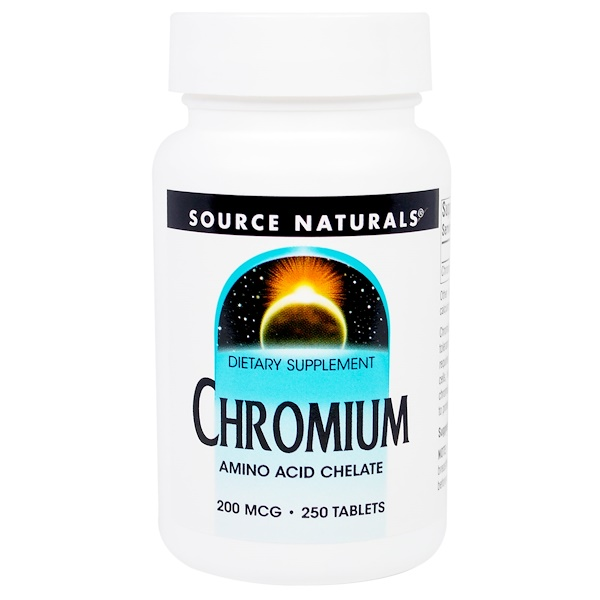 Source Naturals, Chromium, 200 mcg, 250 Tablets