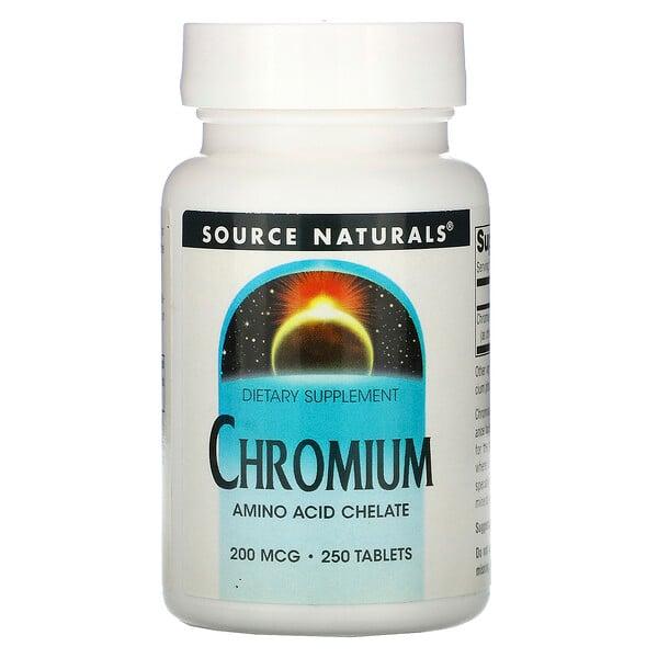 Source Naturals, كروميوم، 200 ميكروغرام، 250 حبة