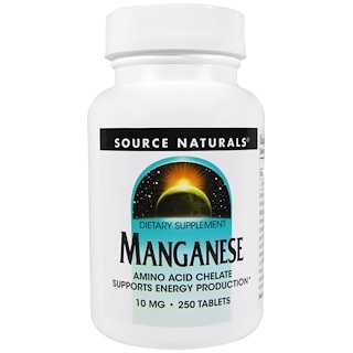 Source Naturals, Mangan, 10 mg, 250 Tabletten