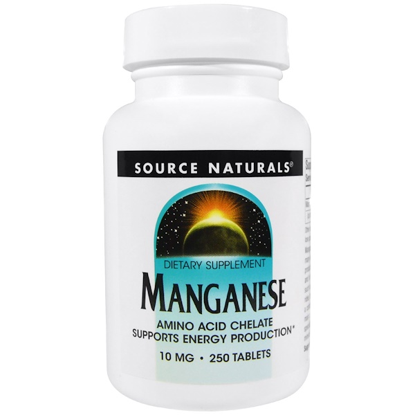 Source Naturals, Manganeso, 10 mg, 250 tabletas