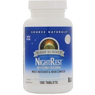 Source Naturals, NightRest com Melatonina, 100 Tabletes