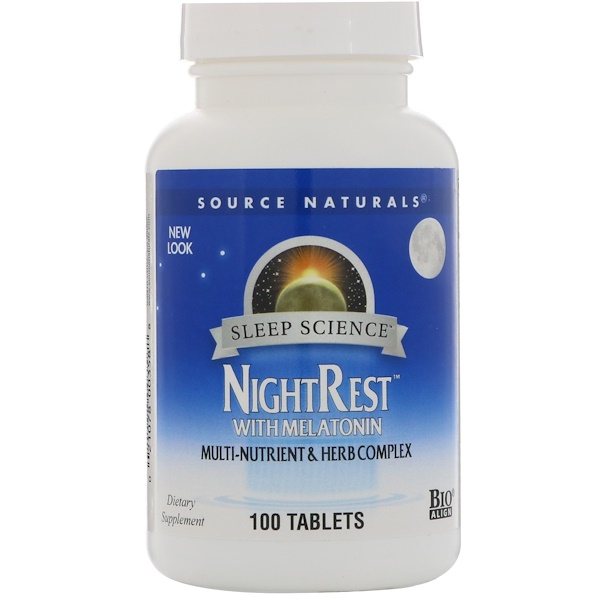 Source Naturals, NightRest With Melatonin, 100 Tablets