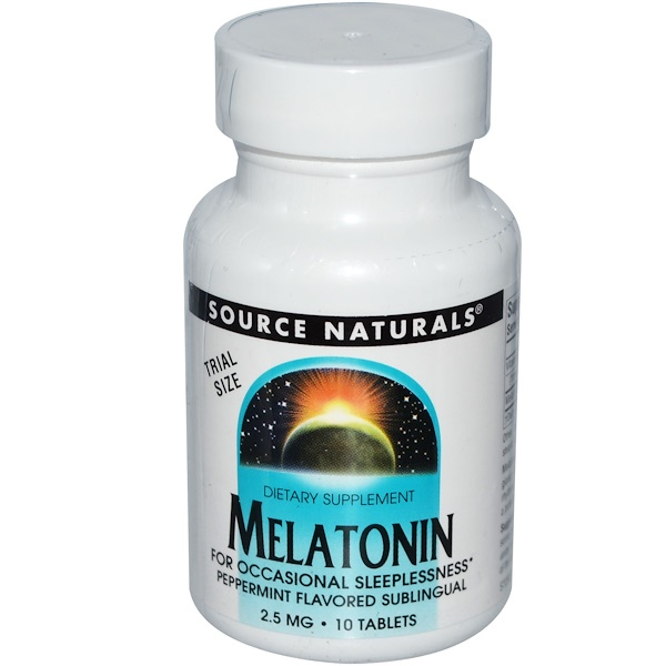 Source Naturals, Melatonin, Peppermint Flavored Sublingual, 2.5 mg, 10 Tablets (Discontinued Item)