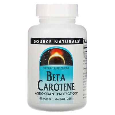 Source Naturals Бета-каротин, 25 000 МЕ, 250 мягких желатиновых капсул