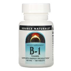 Source Naturals, B-1,硫胺素,100 毫克,100 片