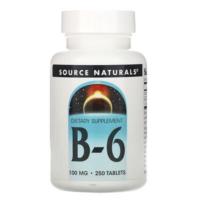 Source Naturals B-6, 100 мг, 250 таблеток