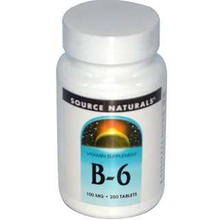 Source Naturals, B-6, 100 mg, 250 Tabletten