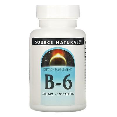 Source Naturals B-6, 500 мг, 100 таблеток