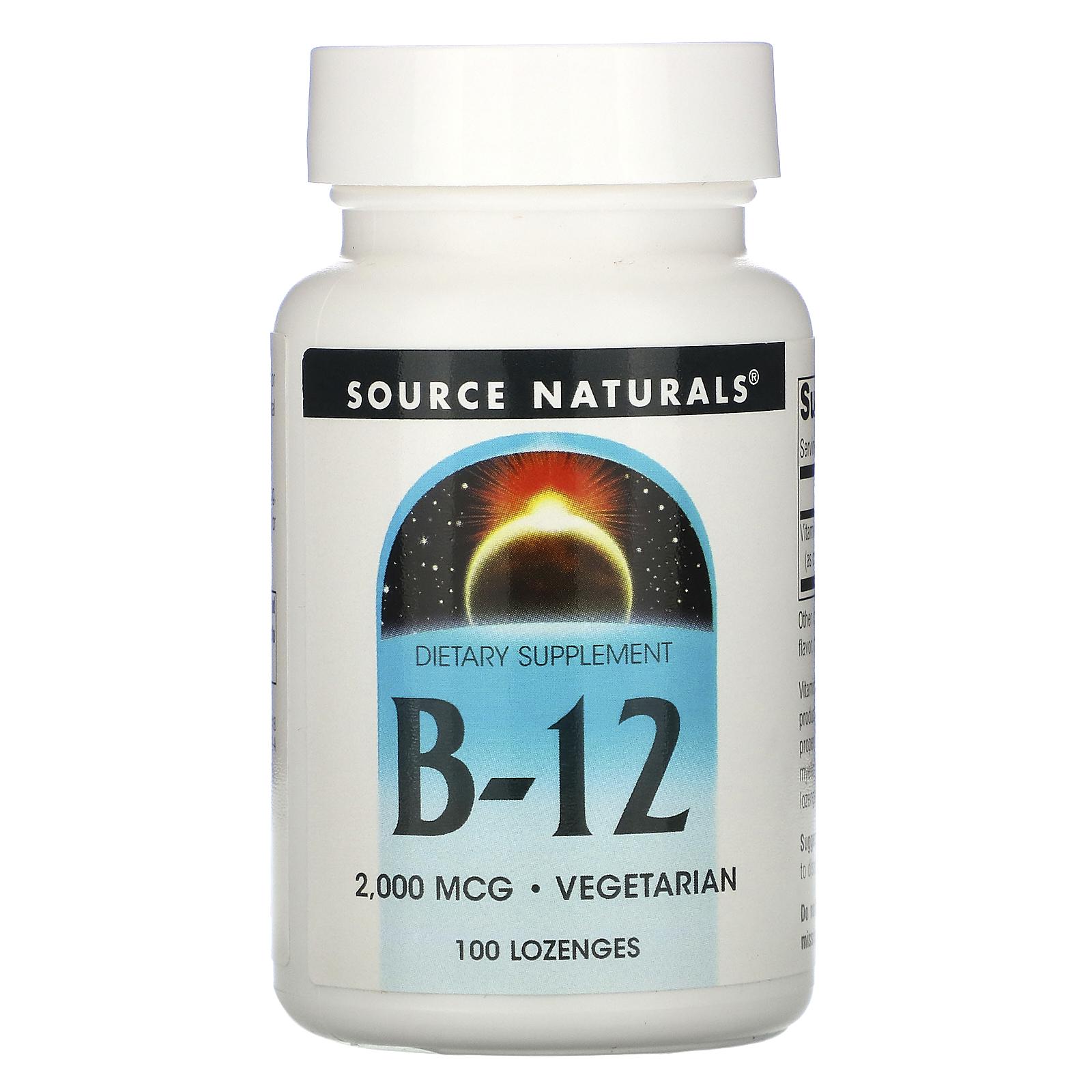 Source Naturals, B-12, 2000 мкг, 100 пастилок