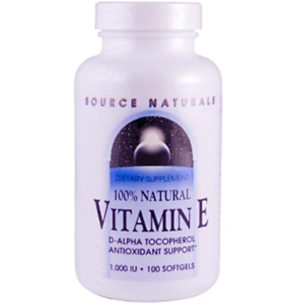 Source Naturals, Vitamin E, 1000 IU, 100 Softgels (Discontinued Item)