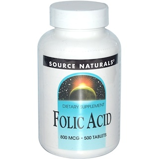 Source Naturals, Folsäure, 800 mcg, 500 Tabletten