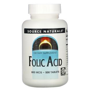 Source Naturals, حمض الفوليك، 800 ميكروغرام، 500 حبة