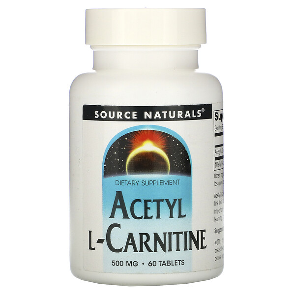 Source Naturals, Acetil L-Carnitina, 500 mg, 60 tabletas