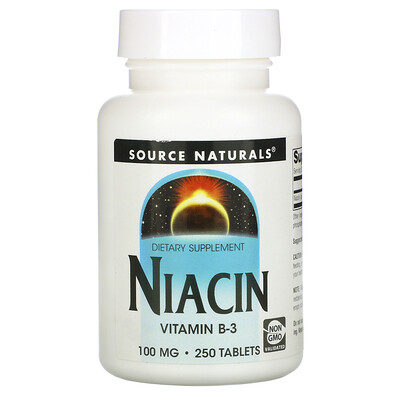 Source Naturals Ниацин, 100 мг, 250 таблеток