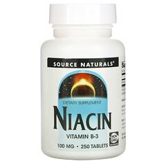 Source Naturals, 煙酸,100 毫克,250 片