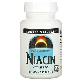 Source Naturals, نياسين، 100 ملجم، 250 قرص