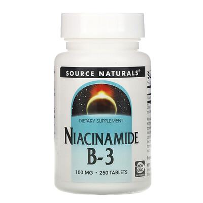 Source Naturals Никотинамид B-3, 100 мг, 250 таблеток
