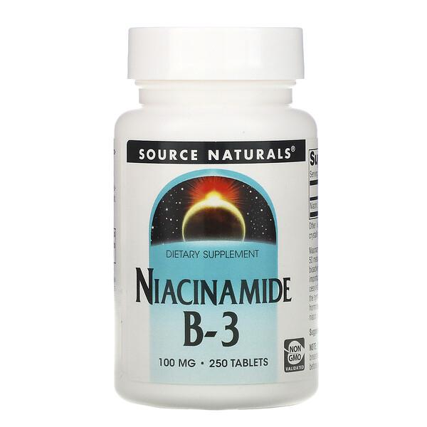 Source Naturals, Niacinamide B-3, 100 mg, 250 Tablets