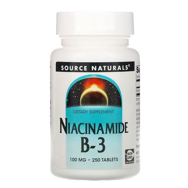 Source Naturals, Niacinamide B-3, 100 mg, 250 Tabletas